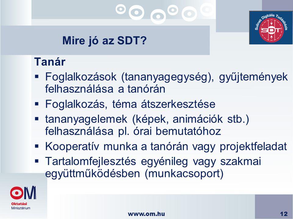 www.om.hu12 Mire jó az SDT? Tanár  Foglalkozások (tananyagegység), gyűjtemények felhasználása a tanórán  Foglalkozás, téma átszerkesztése  tananyag