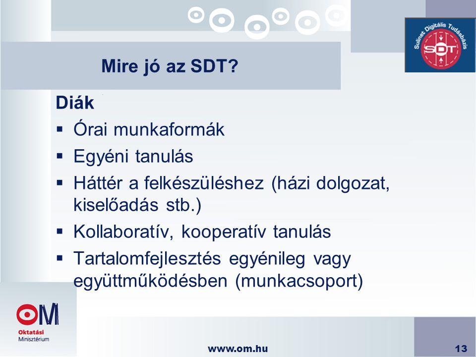 www.om.hu13 Mire jó az SDT? Diák  Órai munkaformák  Egyéni tanulás  Háttér a felkészüléshez (házi dolgozat, kiselőadás stb.)  Kollaboratív, kooper