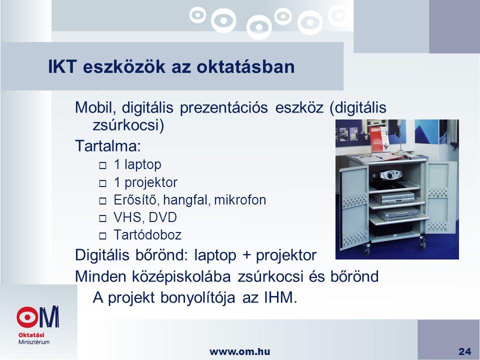 www.om.hu24 IKT eszközök az oktatásban Mobil, digitális prezentációs eszköz (digitális zsúrkocsi) Tartalma:  1 laptop  1 projektor  Erősítő, hangfa