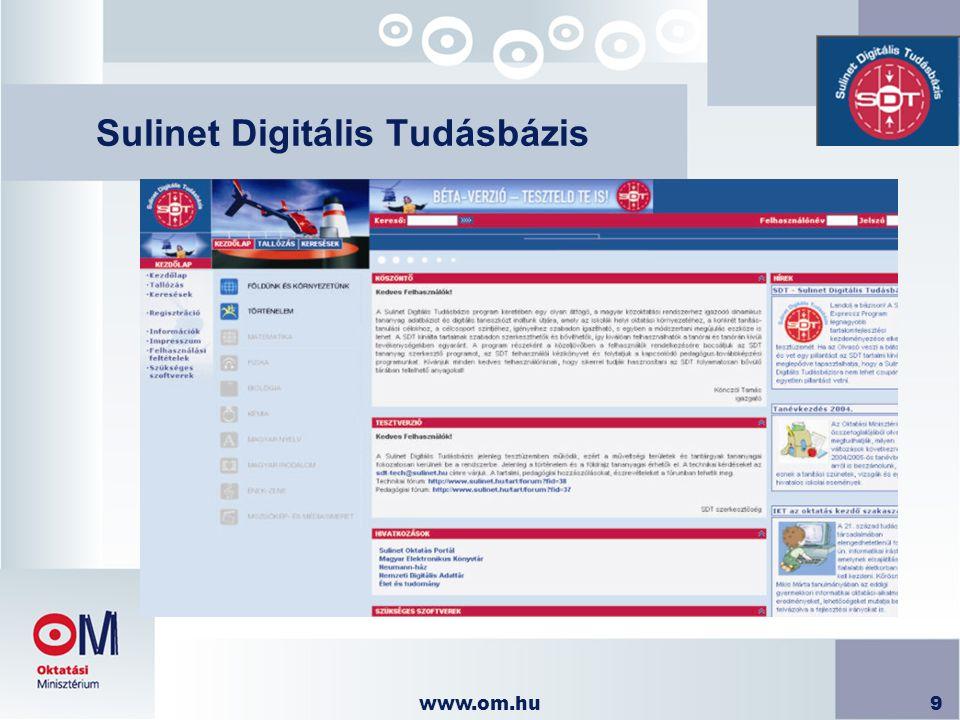 www.om.hu20 Pedagógus továbbképzés  Tanár továbbképzés és eszközvásárlási támogatás  2004 tavasz: 10 000 pedagógus IKT alapú továbbképzése  2004 – 2006 40 000 pedagógus kompetencia központú IKT továbbképzése eszközvásárlási támogatással  Sulinet Expressz adókedvezmény