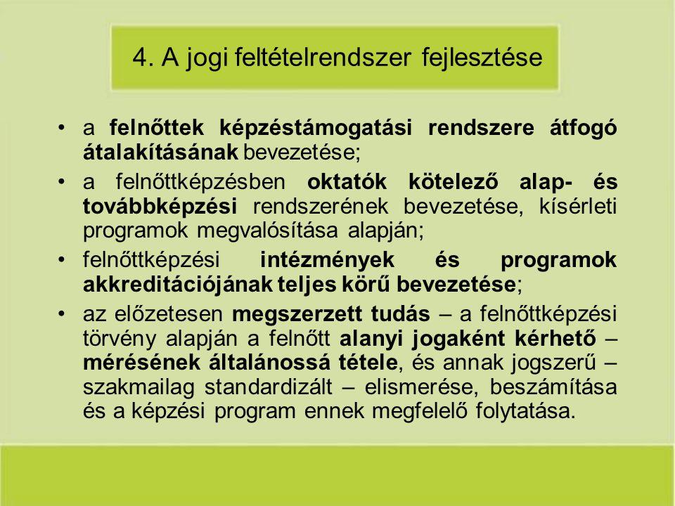 4. A jogi feltételrendszer fejlesztése a felnőttek képzéstámogatási rendszere átfogó átalakításának bevezetése; a felnőttképzésben oktatók kötelező al