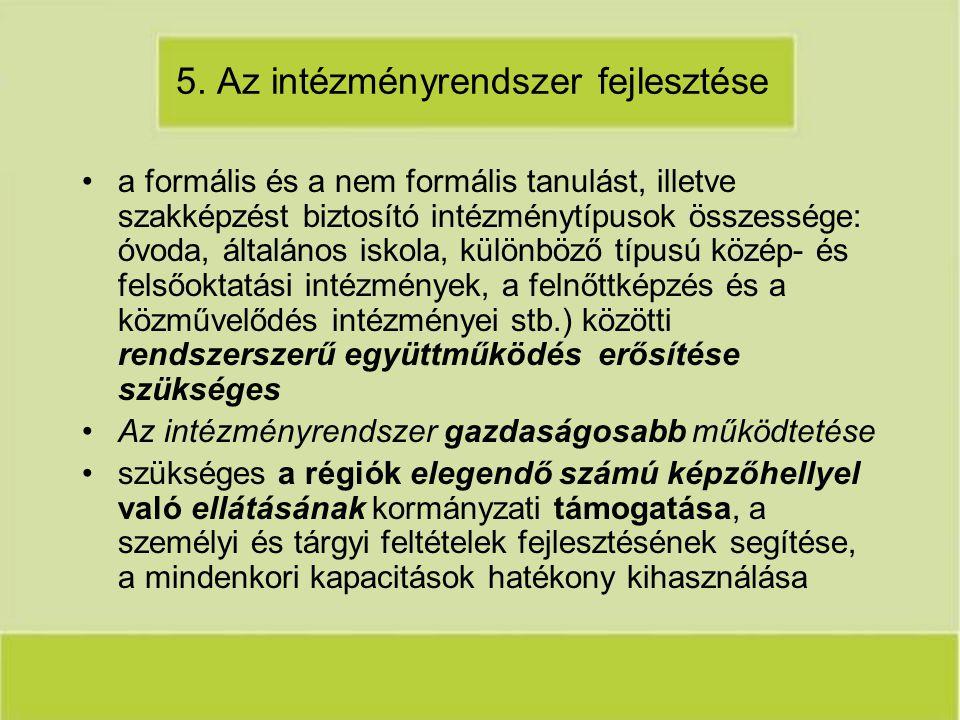 5. Az intézményrendszer fejlesztése a formális és a nem formális tanulást, illetve szakképzést biztosító intézménytípusok összessége: óvoda, általános