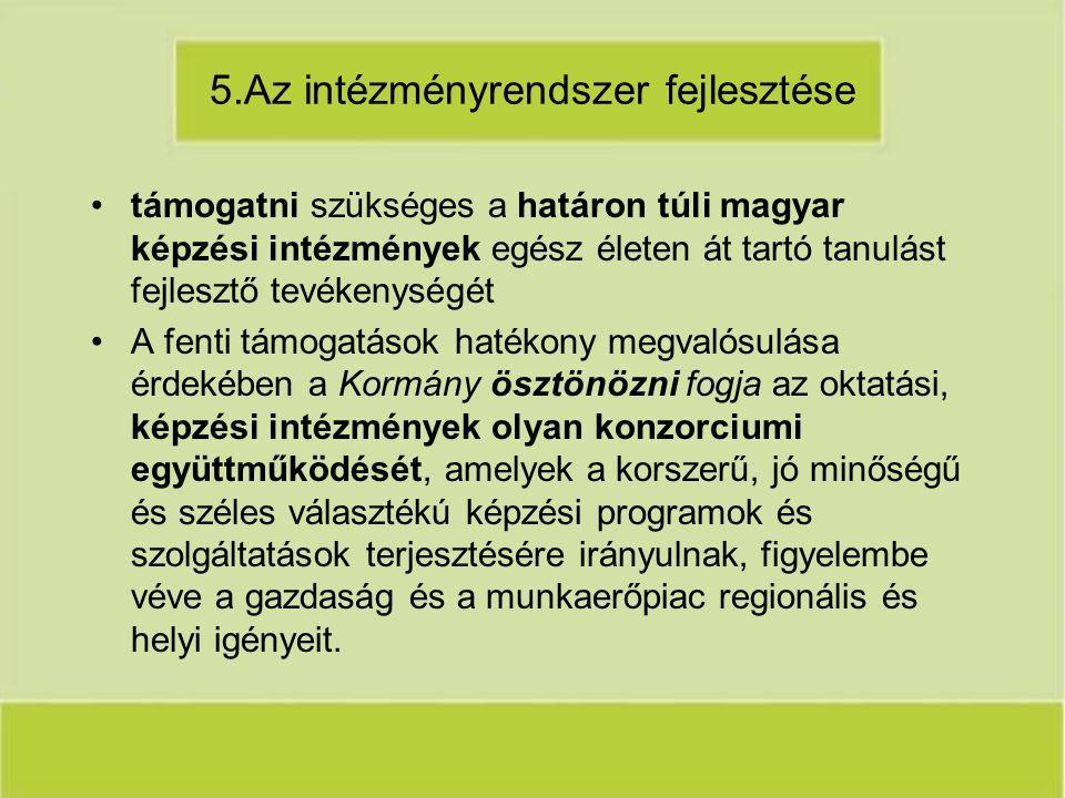 5.Az intézményrendszer fejlesztése támogatni szükséges a határon túli magyar képzési intézmények egész életen át tartó tanulást fejlesztő tevékenységét A fenti támogatások hatékony megvalósulása érdekében a Kormány ösztönözni fogja az oktatási, képzési intézmények olyan konzorciumi együttműködését, amelyek a korszerű, jó minőségű és széles választékú képzési programok és szolgáltatások terjesztésére irányulnak, figyelembe véve a gazdaság és a munkaerőpiac regionális és helyi igényeit.