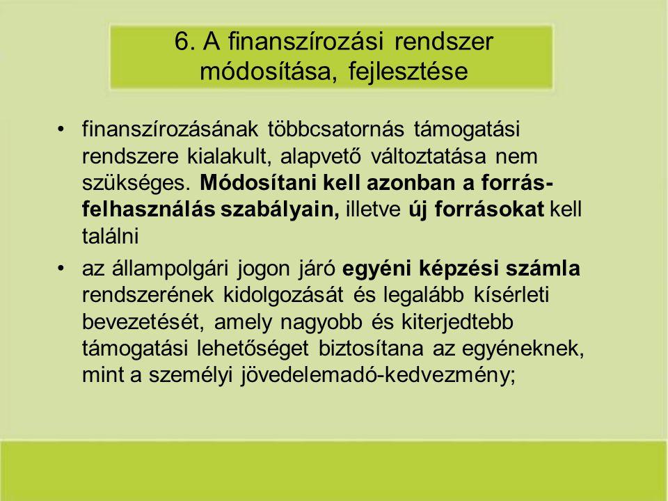6. A finanszírozási rendszer módosítása, fejlesztése finanszírozásának többcsatornás támogatási rendszere kialakult, alapvető változtatása nem szükség