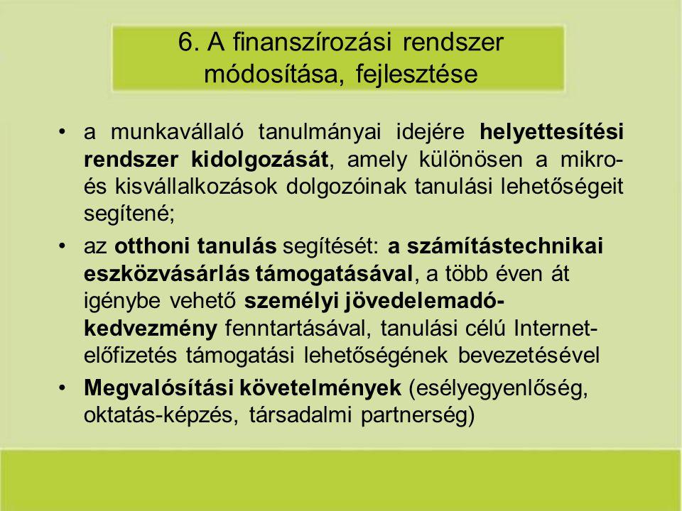 6. A finanszírozási rendszer módosítása, fejlesztése a munkavállaló tanulmányai idejére helyettesítési rendszer kidolgozását, amely különösen a mikro-