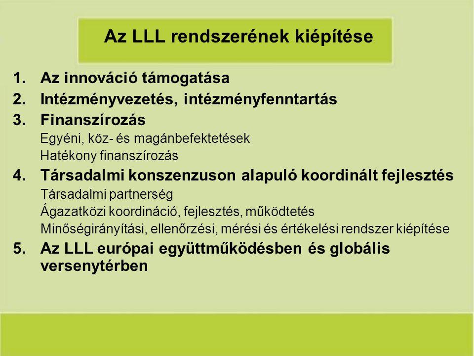 Az LLL rendszerének kiépítése 1.Az innováció támogatása 2.Intézményvezetés, intézményfenntartás 3.Finanszírozás Egyéni, köz- és magánbefektetések Hatékony finanszírozás 4.Társadalmi konszenzuson alapuló koordinált fejlesztés Társadalmi partnerség Ágazatközi koordináció, fejlesztés, működtetés Minőségirányítási, ellenőrzési, mérési és értékelési rendszer kiépítése 5.Az LLL európai együttműködésben és globális versenytérben