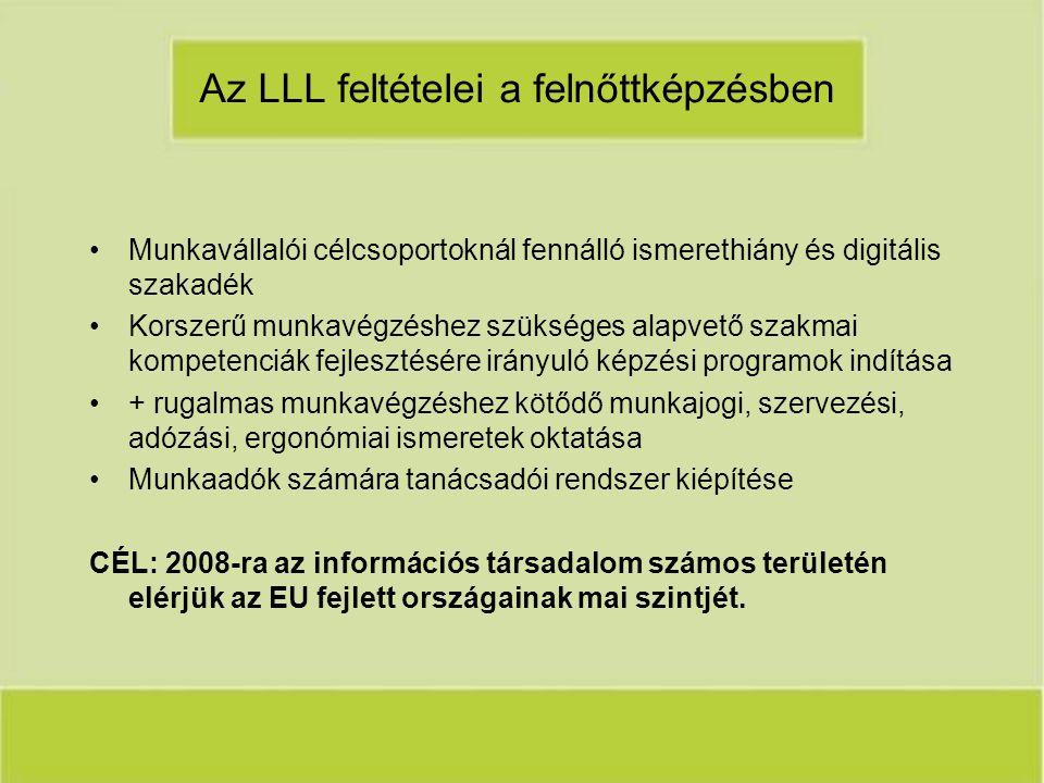Az LLL feltételei a felnőttképzésben Munkavállalói célcsoportoknál fennálló ismerethiány és digitális szakadék Korszerű munkavégzéshez szükséges alapvető szakmai kompetenciák fejlesztésére irányuló képzési programok indítása + rugalmas munkavégzéshez kötődő munkajogi, szervezési, adózási, ergonómiai ismeretek oktatása Munkaadók számára tanácsadói rendszer kiépítése CÉL: 2008-ra az információs társadalom számos területén elérjük az EU fejlett országainak mai szintjét.