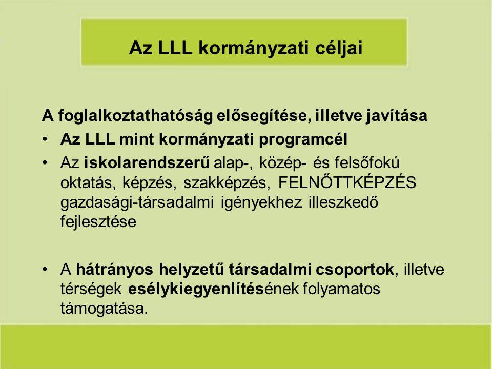 Az LLL kormányzati céljai A foglalkoztathatóság elősegítése, illetve javítása Az LLL mint kormányzati programcél Az iskolarendszerű alap-, közép- és felsőfokú oktatás, képzés, szakképzés, FELNŐTTKÉPZÉS gazdasági-társadalmi igényekhez illeszkedő fejlesztése A hátrányos helyzetű társadalmi csoportok, illetve térségek esélykiegyenlítésének folyamatos támogatása.