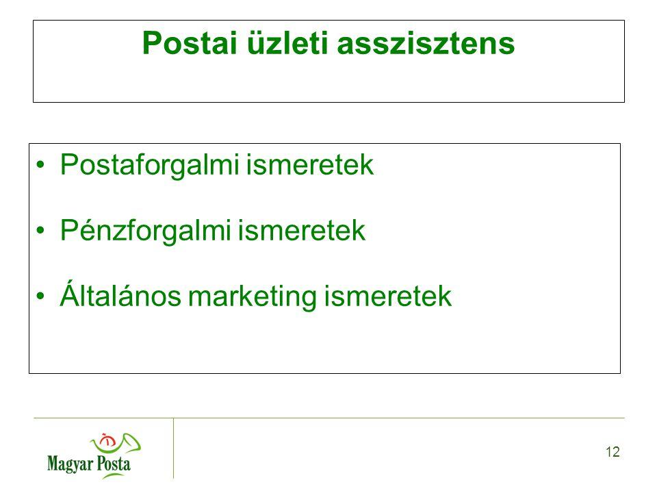 12 Postai üzleti asszisztens Postaforgalmi ismeretek Pénzforgalmi ismeretek Általános marketing ismeretek