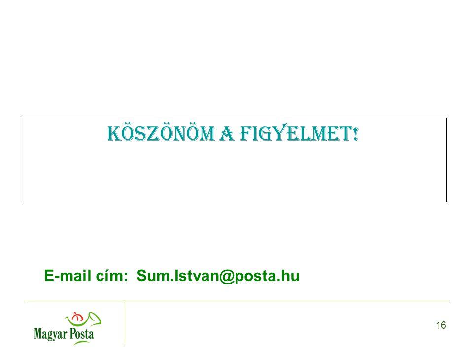 16 Köszönöm a figyelmet! E-mail cím: Sum.Istvan@posta.hu