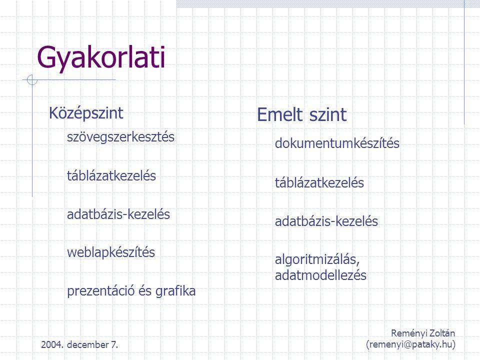 2004. december 7. Reményi Zoltán (remenyi@pataky.hu) Gyakorlati Középszint szövegszerkesztés táblázatkezelés adatbázis-kezelés weblapkészítés prezentá
