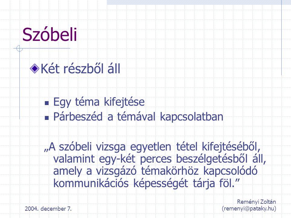 2004.december 7. Reményi Zoltán (remenyi@pataky.hu) Szóbeli tételek (20) Témakör%Min.
