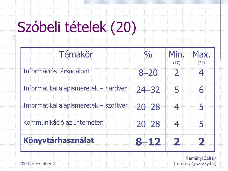 2004. december 7. Reményi Zoltán (remenyi@pataky.hu) Szóbeli tételek (20) Témakör%Min. (17) Max. (22) Információs társadalom 8  20 24 Informatikai al