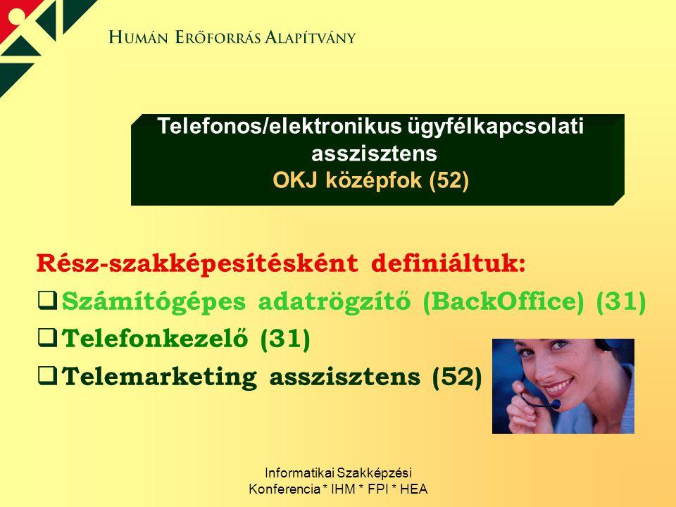 Informatikai Szakképzési Konferencia * IHM * FPI * HEA Rész-szakképesítésként definiáltuk:  Számítógépes adatrögzítő (BackOffice) (31)  Telefonkezel