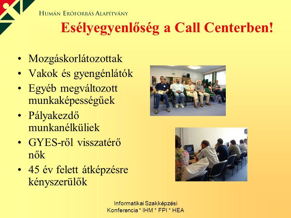Informatikai Szakképzési Konferencia * IHM * FPI * HEA Esélyegyenlőség a Call Centerben! Mozgáskorlátozottak Vakok és gyengénlátók Egyéb megváltozott