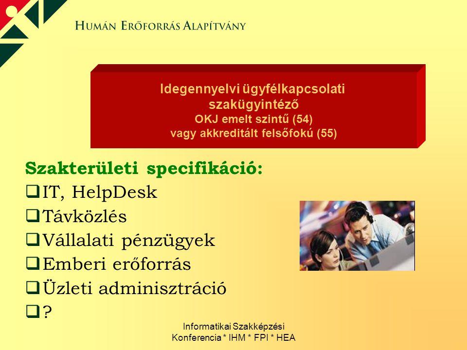 Informatikai Szakképzési Konferencia * IHM * FPI * HEA Szakterületi specifikáció:  IT, HelpDesk  Távközlés  Vállalati pénzügyek  Emberi erőforrás