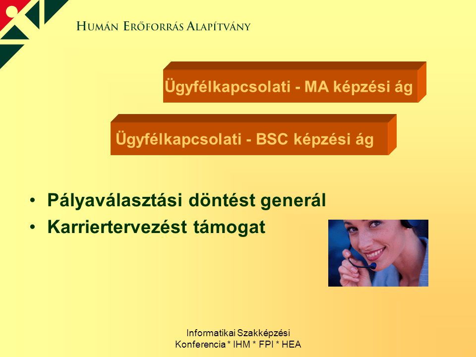 Informatikai Szakképzési Konferencia * IHM * FPI * HEA Ügyfélkapcsolati - BSC képzési ág Ügyfélkapcsolati - MA képzési ág Pályaválasztási döntést gene