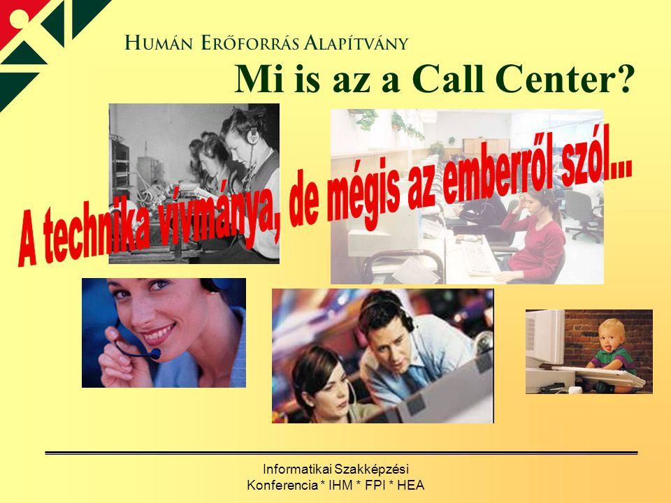 Informatikai Szakképzési Konferencia * IHM * FPI * HEA Mi is az a Call Center?