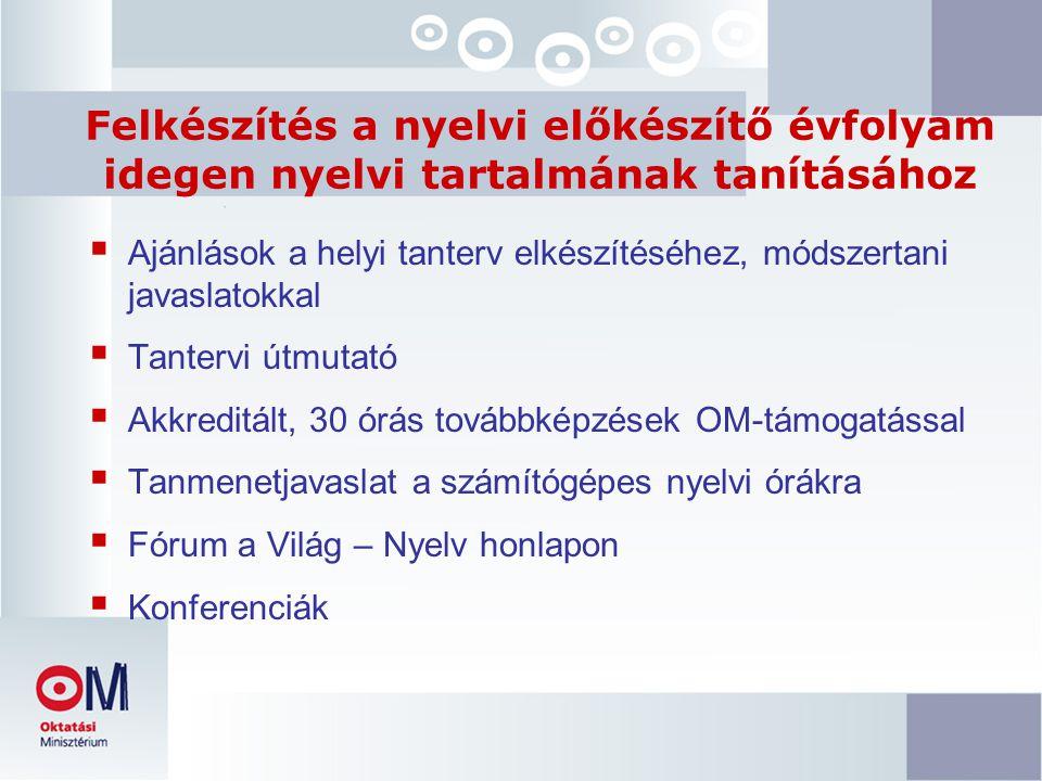 Felkészítés a nyelvi előkészítő évfolyam idegen nyelvi tartalmának tanításához  Ajánlások a helyi tanterv elkészítéséhez, módszertani javaslatokkal  Tantervi útmutató  Akkreditált, 30 órás továbbképzések OM-támogatással  Tanmenetjavaslat a számítógépes nyelvi órákra  Fórum a Világ – Nyelv honlapon  Konferenciák