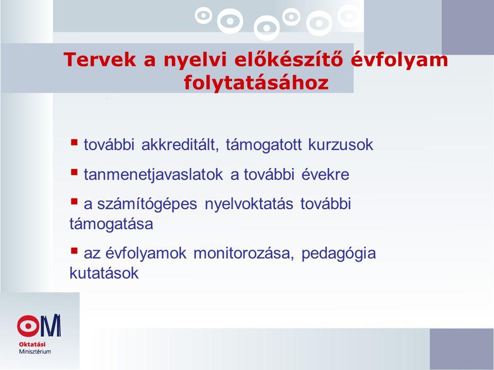 Tervek a nyelvi előkészítő évfolyam folytatásához  további akkreditált, támogatott kurzusok  tanmenetjavaslatok a további évekre  a számítógépes nyelvoktatás további támogatása  az évfolyamok monitorozása, pedagógia kutatások