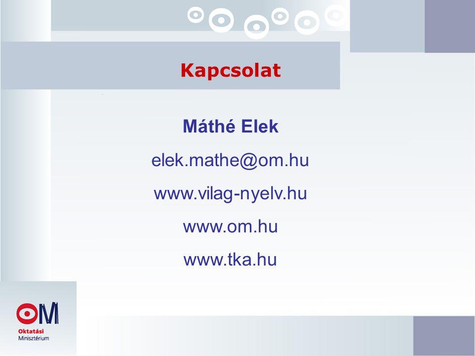 Máthé Elek elek.mathe@om.hu www.vilag-nyelv.hu www.om.hu www.tka.hu Kapcsolat