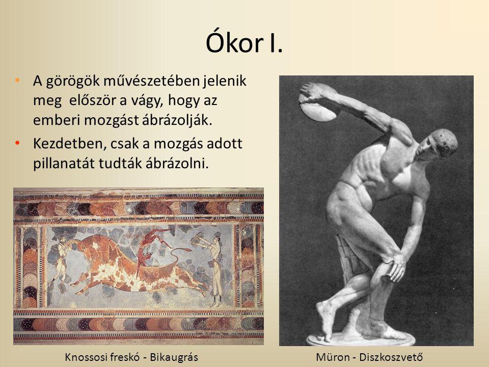 A görögök művészetében jelenik meg először a vágy, hogy az emberi mozgást ábrázolják. Kezdetben, csak a mozgás adott pillanatát tudták ábrázolni. Knos