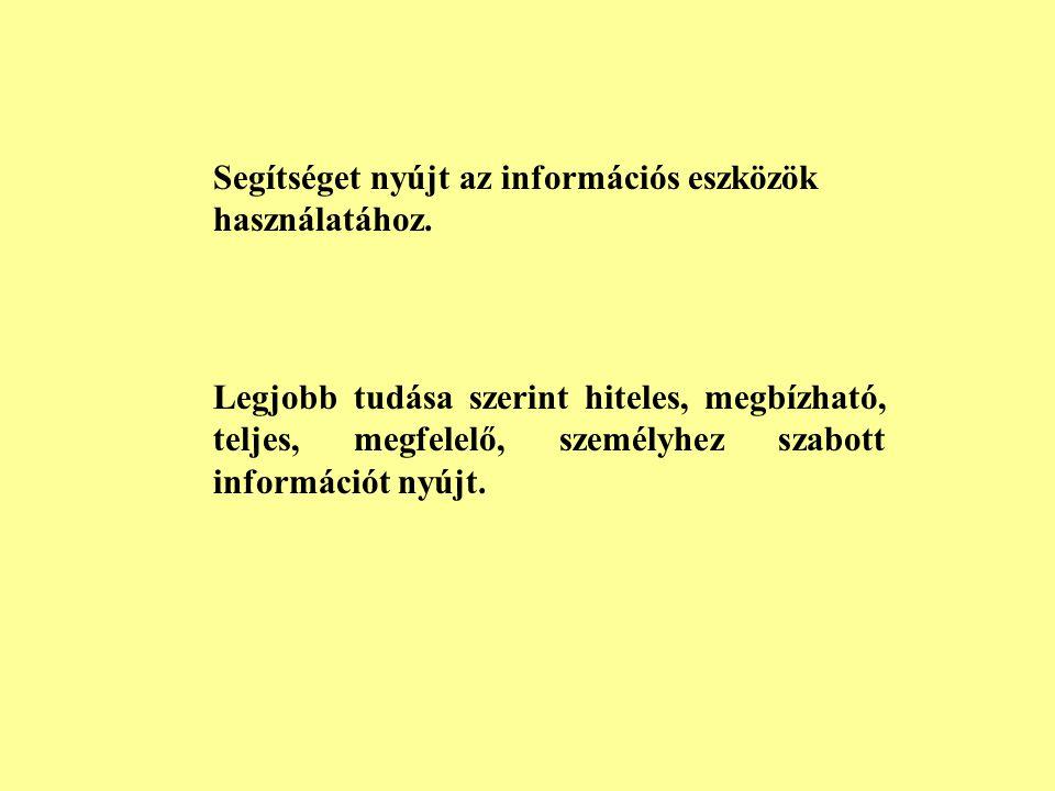 VI Az információ közvetítése A könyvtáros tőle telhetően mindent megtesz azért, hogy a használó szabadon és korlátozás nélkül hozzáférhessen az inform