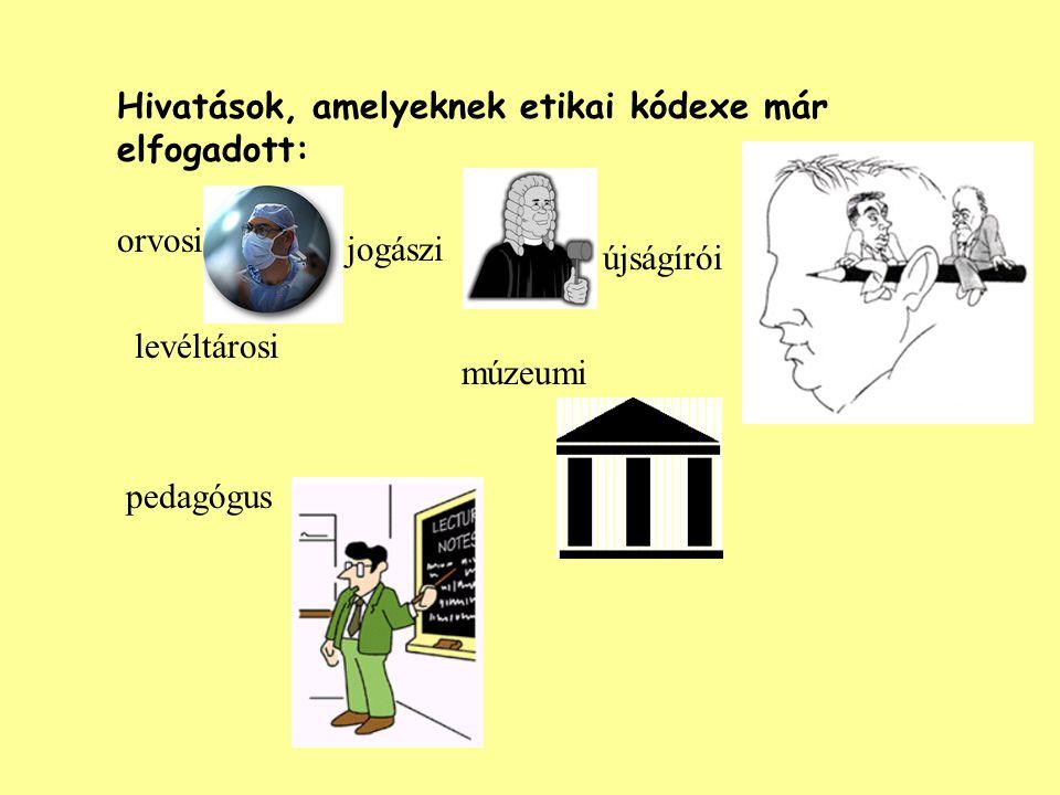 Hivatások, amelyeknek etikai kódexe már elfogadott: orvosi jogászi újságírói levéltárosi múzeumi pedagógus