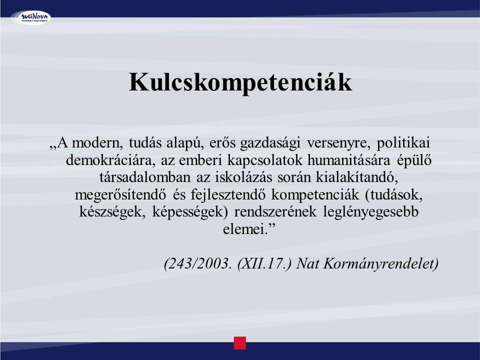"""Kulcskompetenciák """"A modern, tudás alapú, erős gazdasági versenyre, politikai demokráciára, az emberi kapcsolatok humanitására épülő társadalomban az iskolázás során kialakítandó, megerősítendő és fejlesztendő kompetenciák (tudások, készségek, képességek) rendszerének leglényegesebb elemei. (243/2003."""