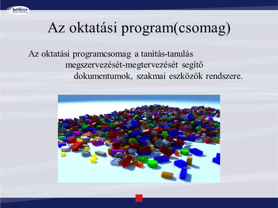 Az oktatási program(csomag) Az oktatási programcsomag a tanítás-tanulás megszervezését-megtervezését segítő dokumentumok, szakmai eszközök rendszere.