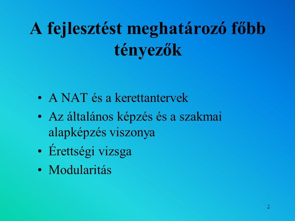 2 A fejlesztést meghatározó főbb tényezők A NAT és a kerettantervek Az általános képzés és a szakmai alapképzés viszonya Érettségi vizsga Modularitás