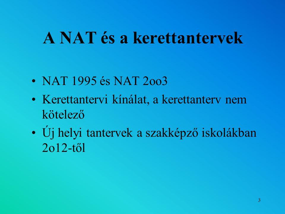 3 A NAT és a kerettantervek NAT 1995 és NAT 2oo3 Kerettantervi kínálat, a kerettanterv nem kötelező Új helyi tantervek a szakképző iskolákban 2o12-től