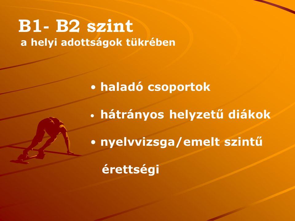 B1- B2 szint a helyi adottságok tükrében haladó csoportok hátrányos helyzetű diákok nyelvvizsga/emelt szintű érettségi
