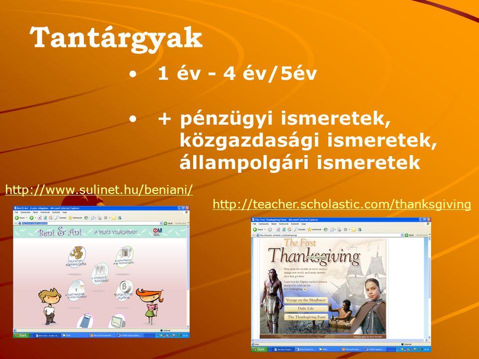 Tantárgyak 1 év - 4 év/5év + pénzügyi ismeretek, közgazdasági ismeretek, állampolgári ismeretek http://www.sulinet.hu/beniani/ http://teacher.scholastic.com/thanksgiving
