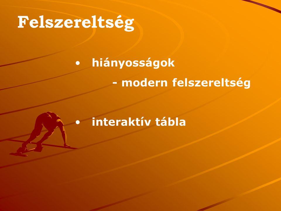 Felszereltség hiányosságok - modern felszereltség interaktív tábla