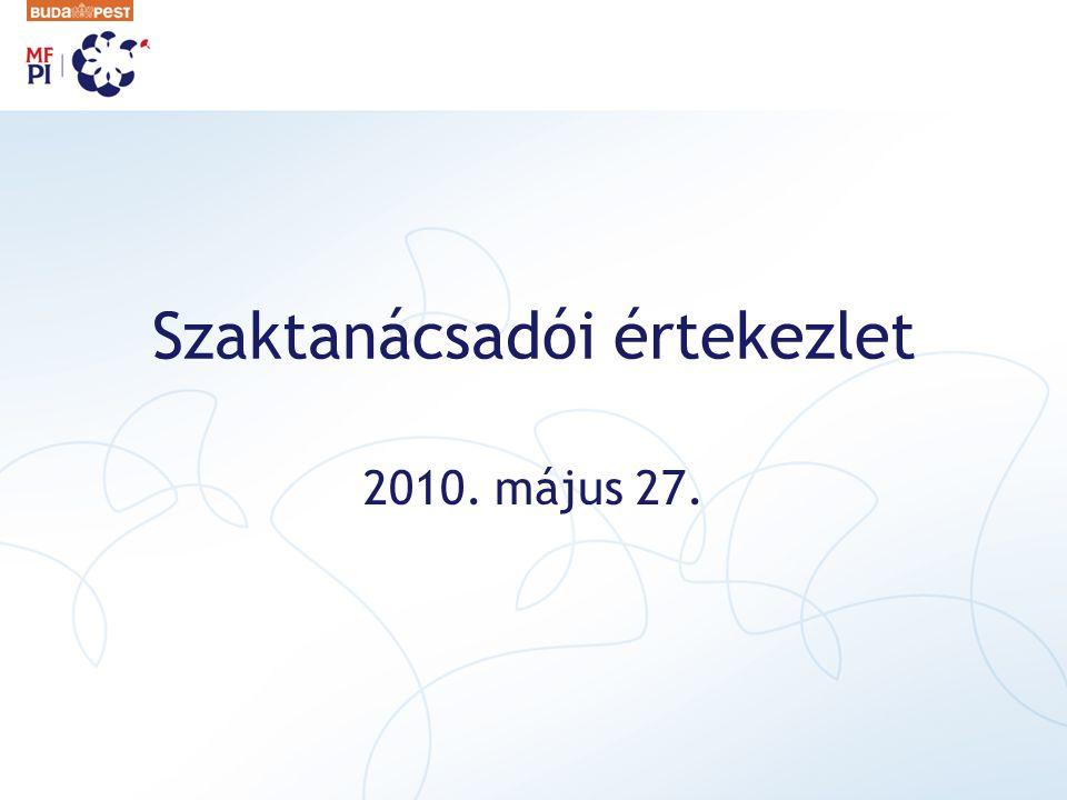 Szaktanácsadói értekezlet 2010. május 27.