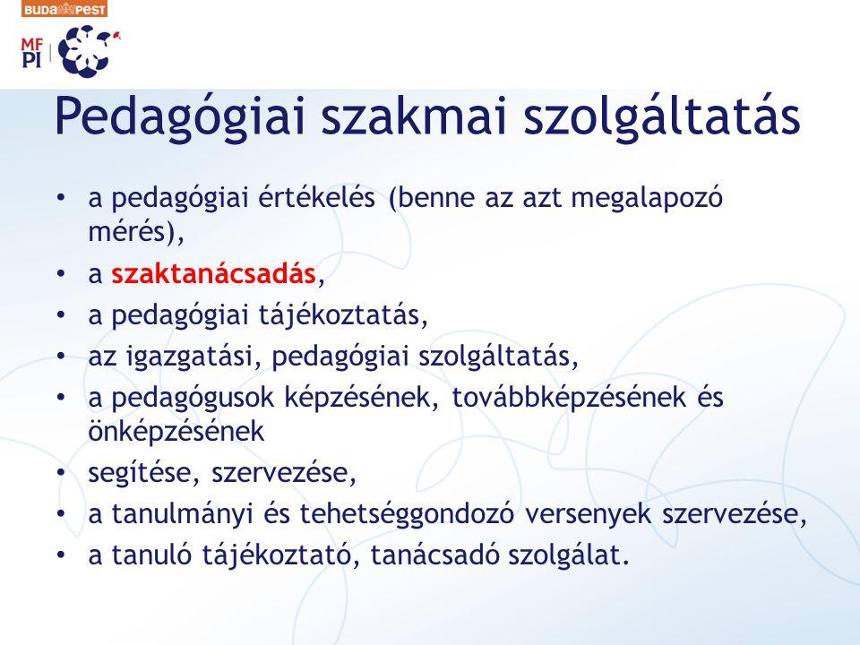 Pedagógiai szakmai szolgáltatás a pedagógiai értékelés (benne az azt megalapozó mérés), a szaktanácsadás, a pedagógiai tájékoztatás, az igazgatási, pe