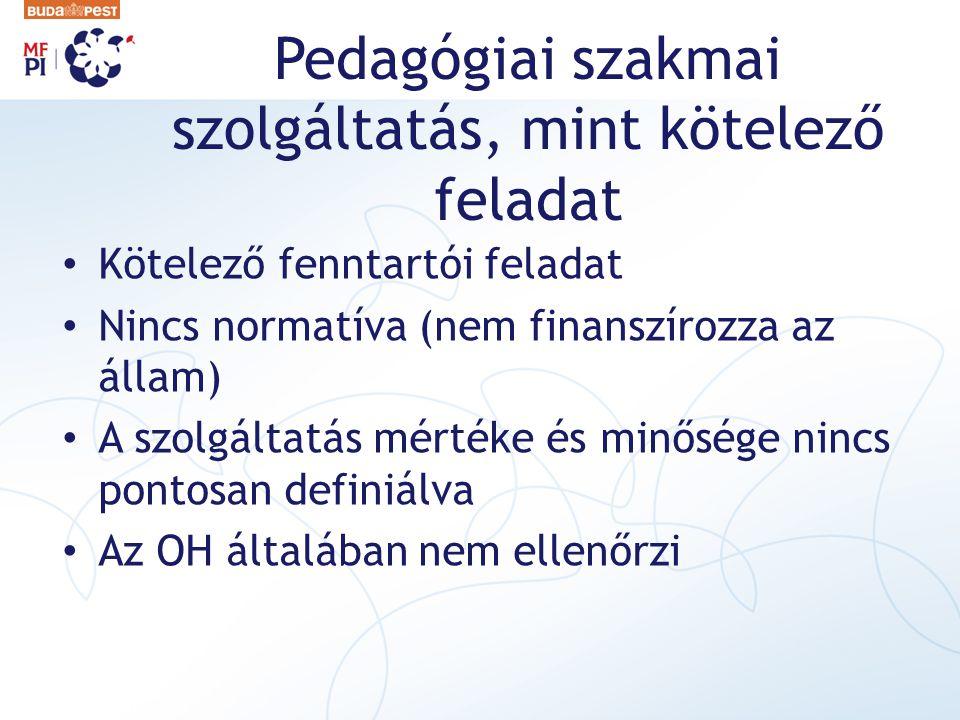 Pedagógiai szakmai szolgáltatás, mint kötelező feladat Kötelező fenntartói feladat Nincs normatíva (nem finanszírozza az állam) A szolgáltatás mértéke