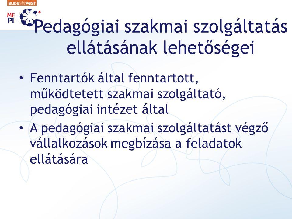 Pedagógiai szakmai szolgáltatás ellátásának lehetőségei Fenntartók által fenntartott, működtetett szakmai szolgáltató, pedagógiai intézet által A pedagógiai szakmai szolgáltatást végző vállalkozások megbízása a feladatok ellátására