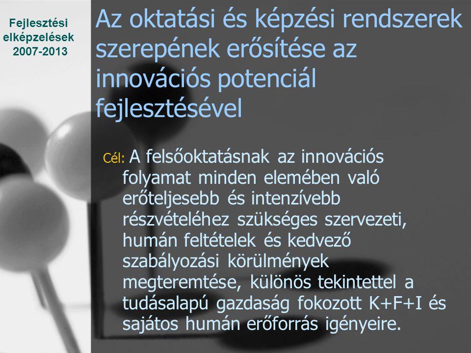Az oktatási és képzési rendszerek szerepének erősítése az innovációs potenciál fejlesztésével Cél: A felsőoktatásnak az innovációs folyamat minden elemében való erőteljesebb és intenzívebb részvételéhez szükséges szervezeti, humán feltételek és kedvező szabályozási körülmények megteremtése, különös tekintettel a tudásalapú gazdaság fokozott K+F+I és sajátos humán erőforrás igényeire.