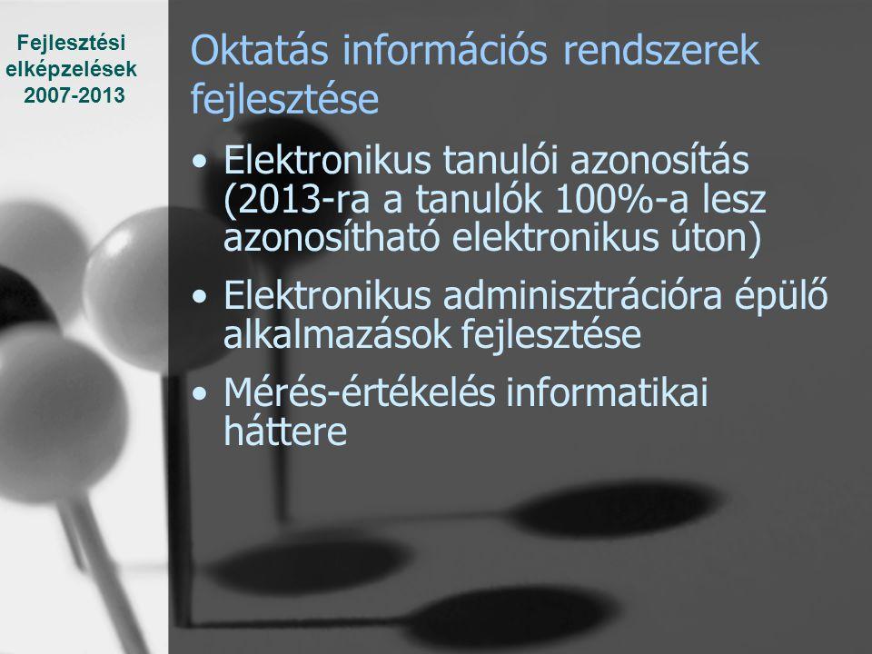 Oktatás információs rendszerek fejlesztése Elektronikus tanulói azonosítás (2013-ra a tanulók 100%-a lesz azonosítható elektronikus úton) Elektronikus adminisztrációra épülő alkalmazások fejlesztése Mérés-értékelés informatikai háttere Fejlesztési elképzelések 2007-2013