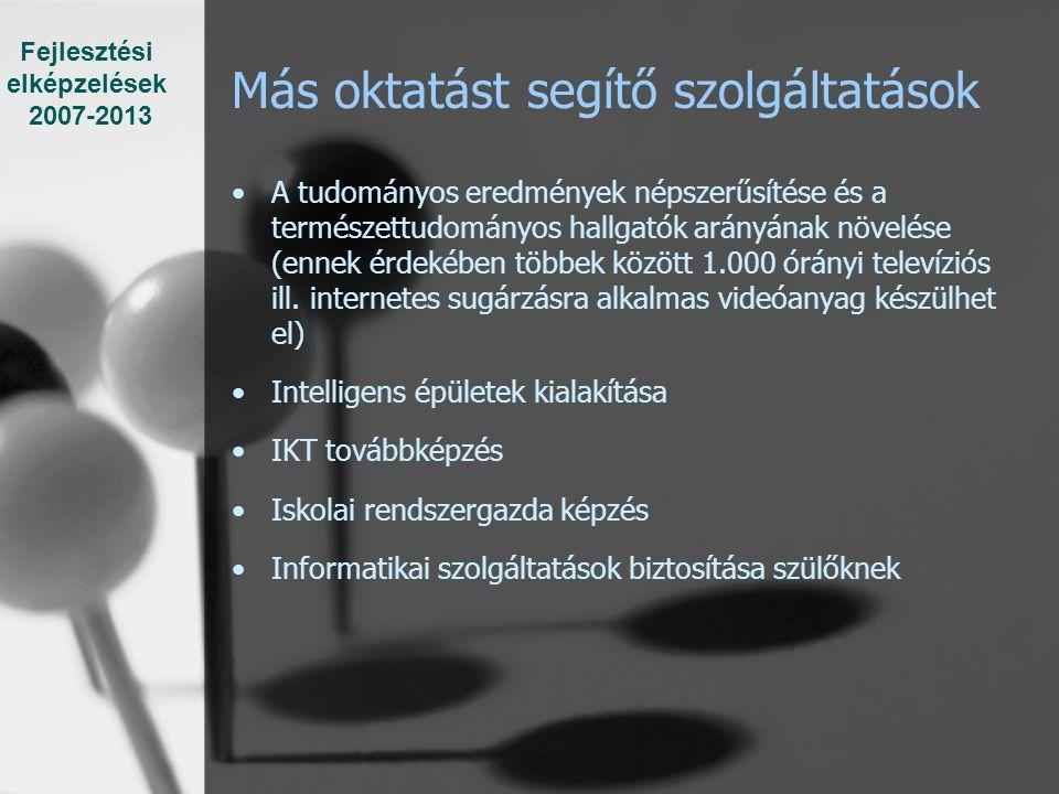 Más oktatást segítő szolgáltatások A tudományos eredmények népszerűsítése és a természettudományos hallgatók arányának növelése (ennek érdekében többek között 1.000 órányi televíziós ill.