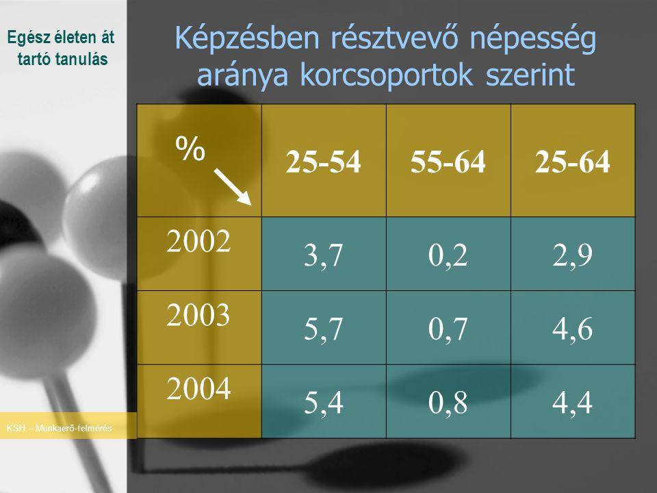 Képzésben résztvevő népesség aránya korcsoportok szerint % 25-5455-6425-64 2002 3,70,22,9 2003 5,70,74,6 2004 5,40,84,4 KSH – Munkaerő-felmérés Egész életen át tartó tanulás