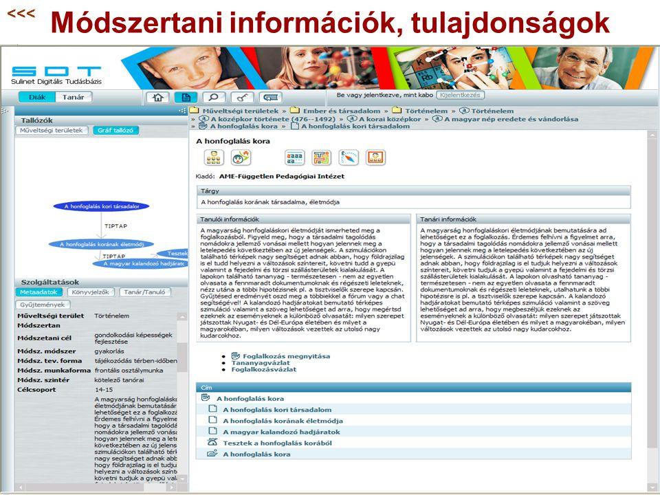 Módszertani információk, tulajdonságok <<<