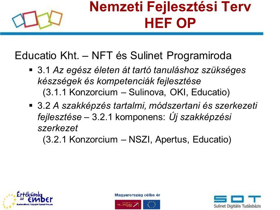 Nemzeti Fejlesztési Terv HEF OP Educatio Kht. – NFT és Sulinet Programiroda  3.1 Az egész életen át tartó tanuláshoz szükséges készségek és kompetenc