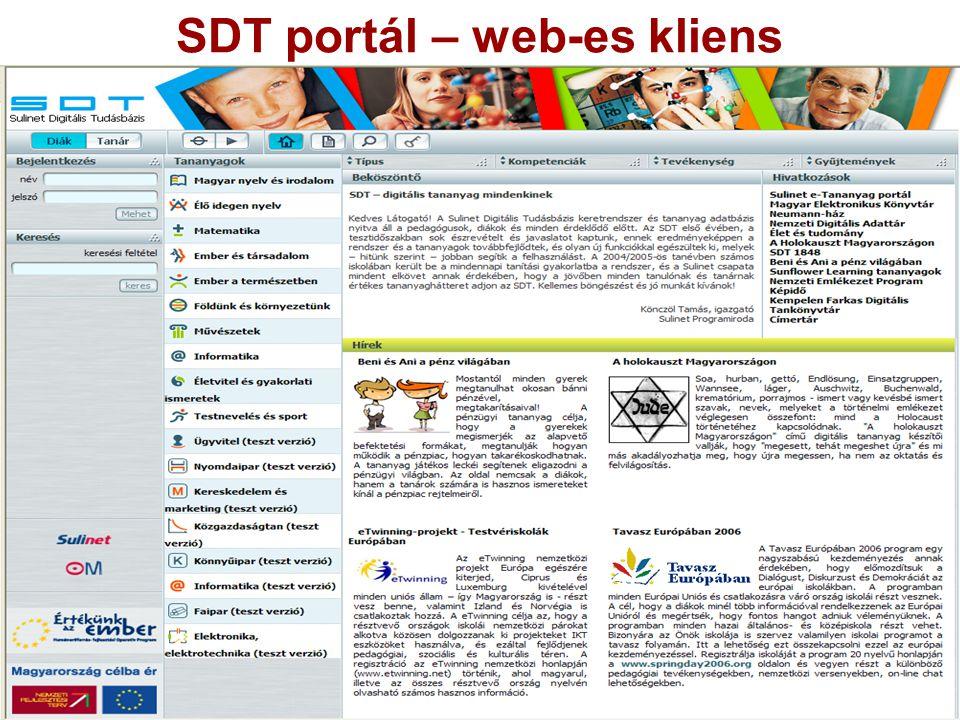 SDT portál – web-es kliens