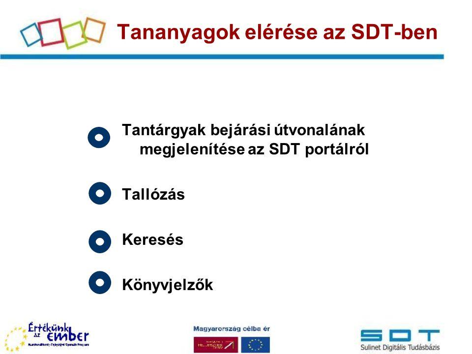 Tananyagok elérése az SDT-ben Tantárgyak bejárási útvonalának megjelenítése az SDT portálról Tallózás Keresés Könyvjelzők