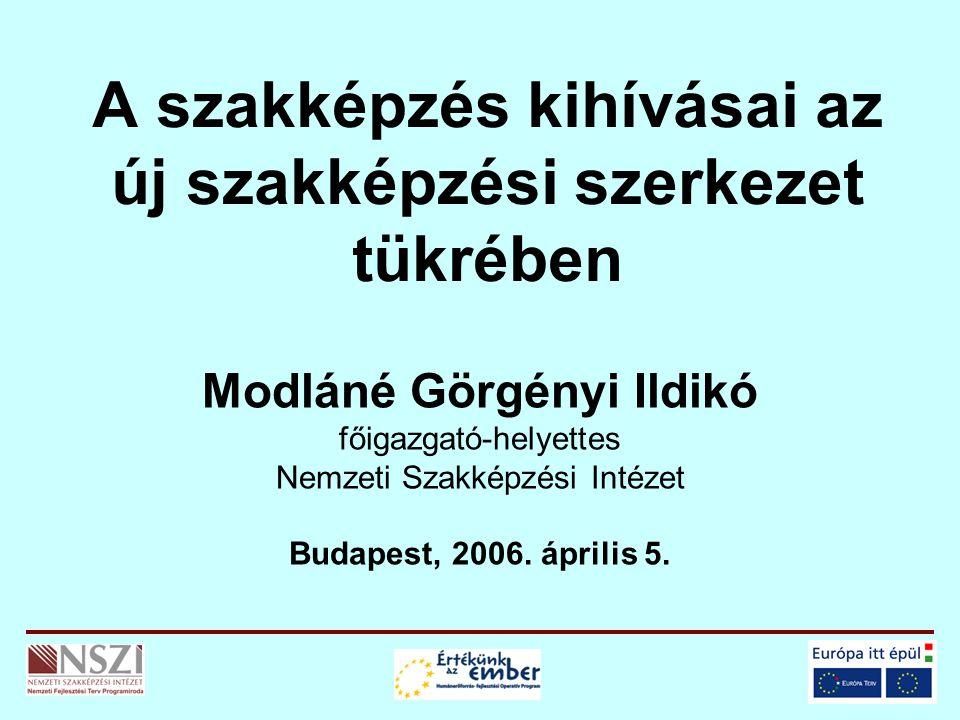 A szakképzés kihívásai az új szakképzési szerkezet tükrében Modláné Görgényi Ildikó főigazgató-helyettes Nemzeti Szakképzési Intézet Budapest, 2006.