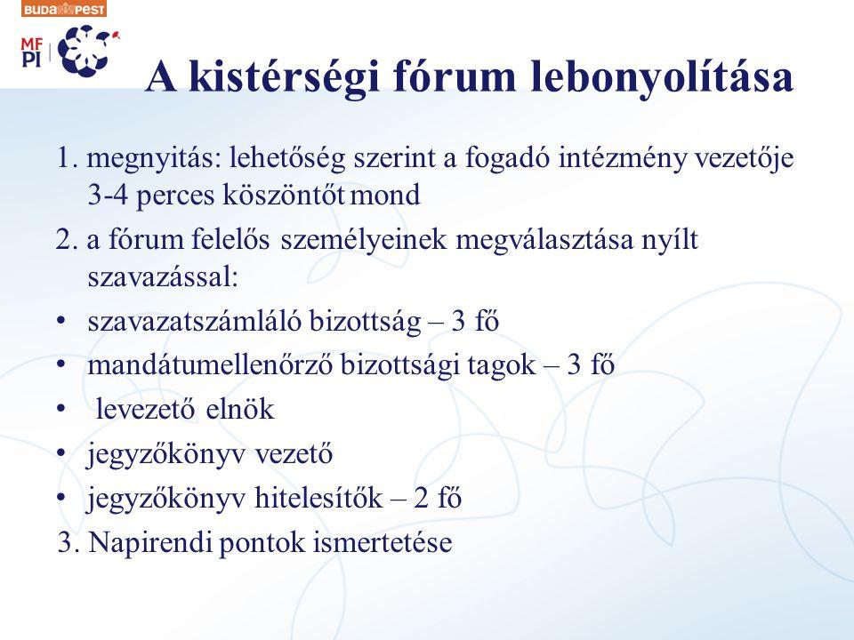 A kistérségi fórum lebonyolítása 1.