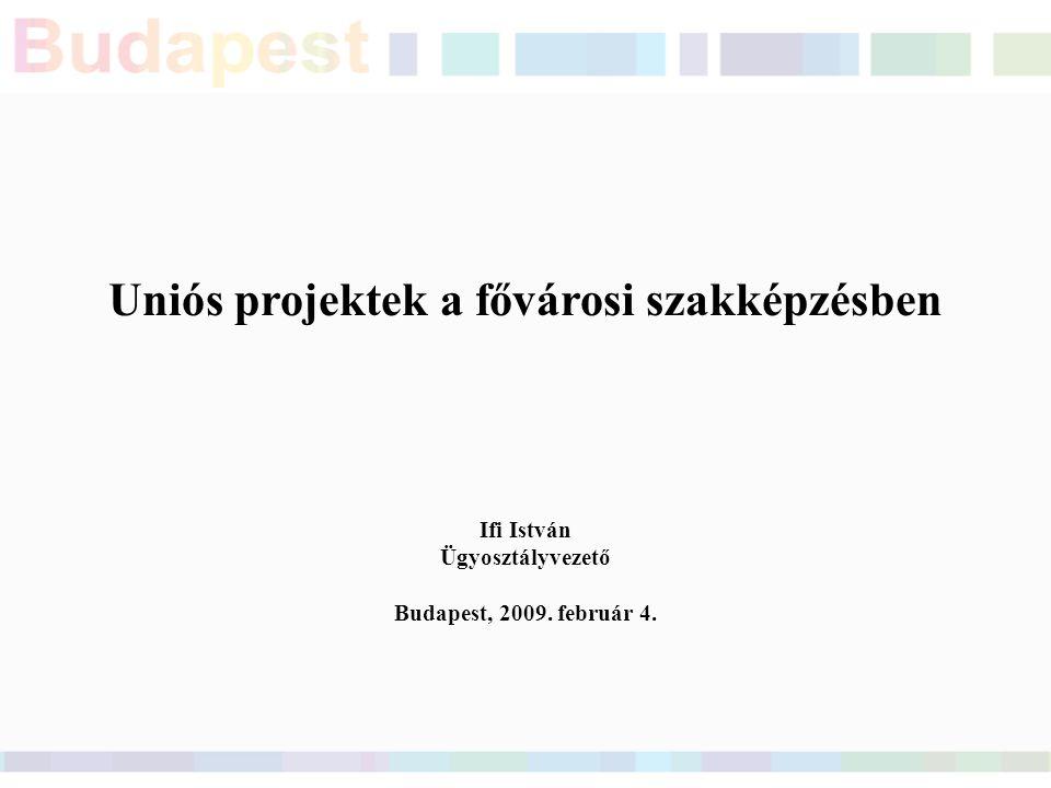 Uniós projektek a fővárosi szakképzésben Ifi István Ügyosztályvezető Budapest, 2009. február 4.